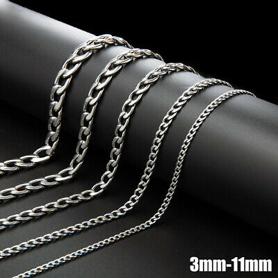 """19""""-27"""" Stainless Steel Silver Tone Chain Cuban Curb Mens Necklace 3/5/7/9/11mm"""