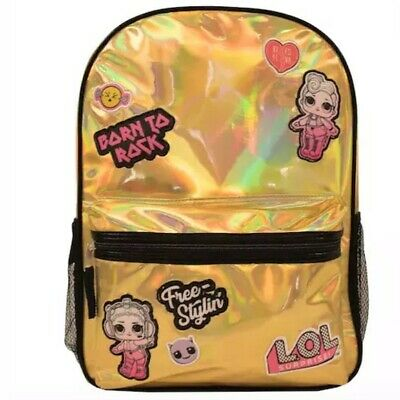 """NWT L.O.L. LOL Surprise Backpack Gold 16"""" X 12"""" Front Side Pockets New"""