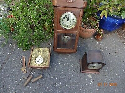 3 x vintage oak wall & mantle clocks A/F for spares or repair