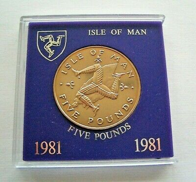 "UNC 1981 ISLE OF MAN FIVE POUNDS £5 COIN IN MOUNT & CASE DIE MARK ""AA"" IoM MANX"