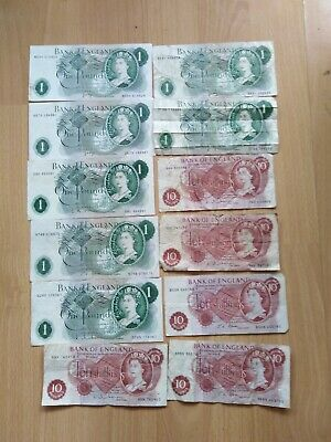 7 Old One Pound Bank Notes + 5 Ten Shilling Notes.