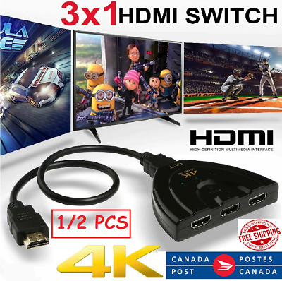 New 3in 1out HDMI Switch Hub Splitter TV Switcher Adapter Ultra HD for HDTV  CA