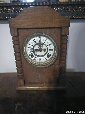Antique Wooden Mantle clock with open escapement In Good working Order