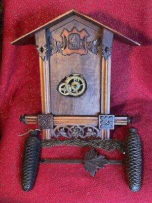 Antique Carved Gatehouse Style German Black Forest Cuckoo Clock Project Running