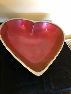 Silver & Pink Heart Dish ❤️🌈