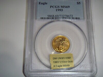 1993 $5 Pure Gold American Eagle 1/10 Oz. PCGS Graded MS69, Most Popular Coin