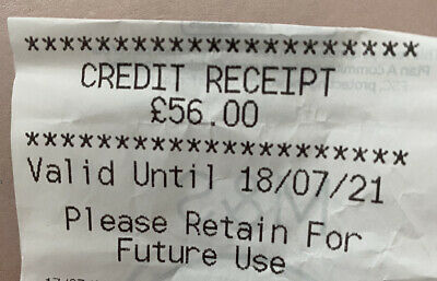 Marks And Spencer Credit Receipt Worth £56.00