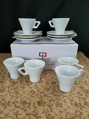 (6) Nuova Point Cappuccino Pescara White Cups & Saucers Made In Italy Nib