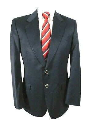 M&S Vintage Classic Navy Jacket Blazer Ch38S Enamelled Buttons Pure wool