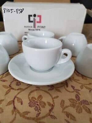 (6) Nuova Point Old Sorrento Espresso White Cups & Saucers Made In Italy Nib