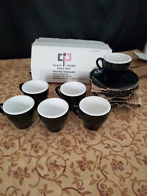 (6) Nuova Point Milano Espresso Black Cups & Saucers Made In Italy New / No Box