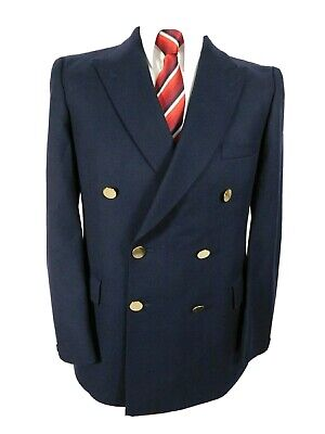 Moss Bros Covent Garden Vintage Double Breasted Navy Jacket Blazer Ch38S Classic