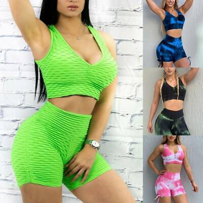 Women/'s Textured Yoga Top//Hot Shorts Sports Pants Anti-Cellulite Gym Fitness Set