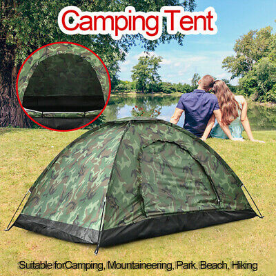 Camo Outdoor Camping Waterproof 2-3 Person Folding Tent Camouflage Hiking UK