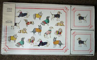 Marks and Spencer FUNKY DOG PLACEMATS & COASTER SET Mats & Coasters M&S NEW