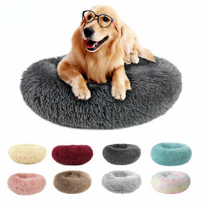 Donut Pet Dog Cat Calming Sleeping Bed Ultra Warm Soft Long Plush Round Nest
