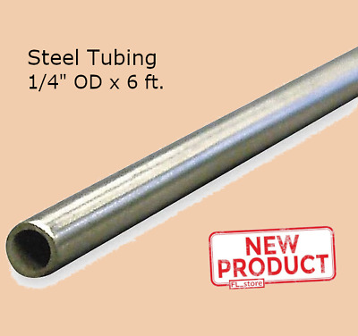 Round Tubing Stainless Steel 1/4 Inch OD x 6 Ft Welded 0.180 Inch Inside Dia NEW