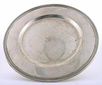 6 x 1/3 Inch Vintage Antique M Monogram Pure Sterling Silver Plate Dish AS70