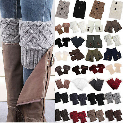 Womens Crochet Knitted Boot Cuffs Toppers Short Ankle Socks Fur Trim Leg Warmers
