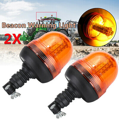 2x LED Flash ROTANTE AMBRA Beacon flessibile DIN Pole Mount Trattore SPIA