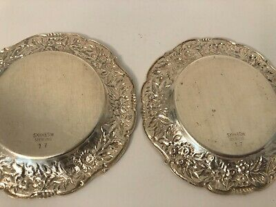 2 S. Kirk & Son Sterling #17 Repousse Individual Butter Pat Dishes No Mono