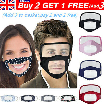 Transparent Face Mask With Clear Mouth Window Visible Expression Mask