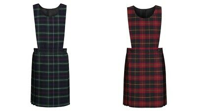 Kids Girls Tartan School Uniform Pleated Bib Pinafore Dress 3 Colours Ages 2-16