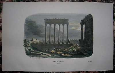 EGYPT Baalbec Balbek Remains of Temple of the Sun SCARCE 1860s Antique Print Engraving