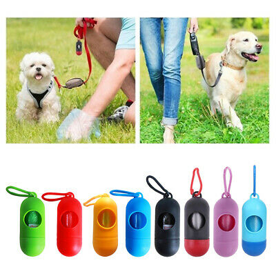 Portable Dog Poo Bag Dispensers Holder w/ Pickup Bags for Pet Puppy Cat Poop