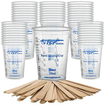 50 - 10 oz (300ml) Disposable Flexible Graduated Plastic Mixing Cups, 50 Sticks