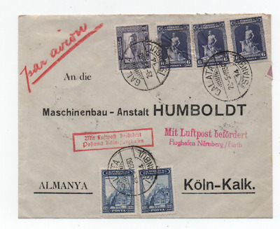 Turchia Galata 29/5/1930 Very Nice Air Mail Cover To Colonia Postmarks Top!!