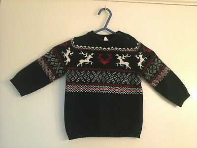 BNWT boys navy blue long sleeve Father Christmas jumper age 12-18 months
