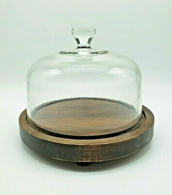 """New J C and Rollie Faceted Cloche Glass Dome with Natural Base  6/"""" x 5/"""" x 5/"""" /&"""