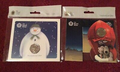 2019 UK SNOWMAN / Wallace & Gromit 50P FIFTY PENCE ROYAL MINT COIN PACK
