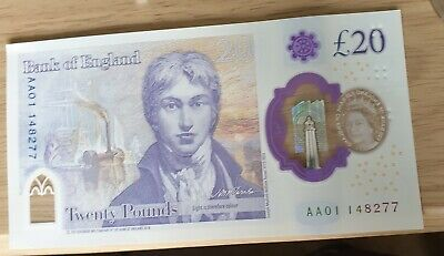 £20 note new uncirculated AA01 148277