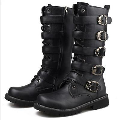 Mens Punk  Lace up Leather shoes Motorcycle rock Gothic Boots Uk