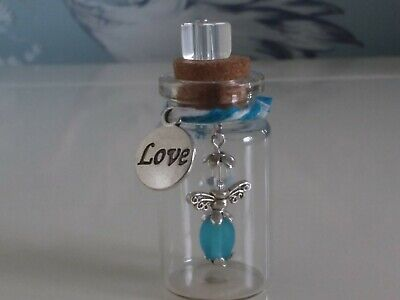 baby boy mini keepsake bottle for first tooth/lock of hair. handmade