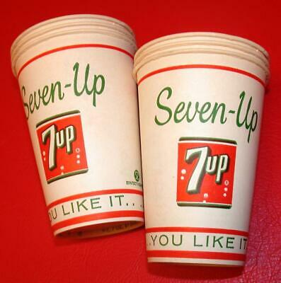 """Vintage 6 1960/'s SEVEN 7 UP SODA 4 oz Wax PAPER CUPS /""""You like it..it likes you/"""""""