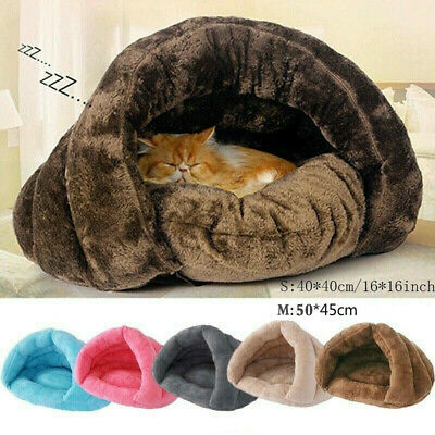 Pet Cat Dog House Kennel Puppy Cave Sleeping Bed Super Soft Mat Pad Warm Nest US