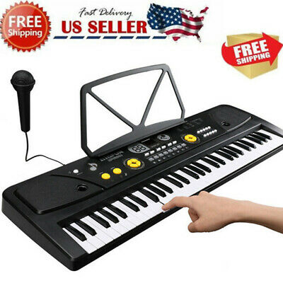 61 Key Music Electronic Keyboard Electric Digital Piano Organ with Mic & Stand