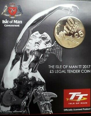 2017 ISLE OF MAN TT £5 COIN - TOURIST TROPHY T.T. RACES Excellent Condition
