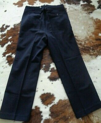 Vtg 40s WW2 French wool work chore cinch back gents dress pants trousers