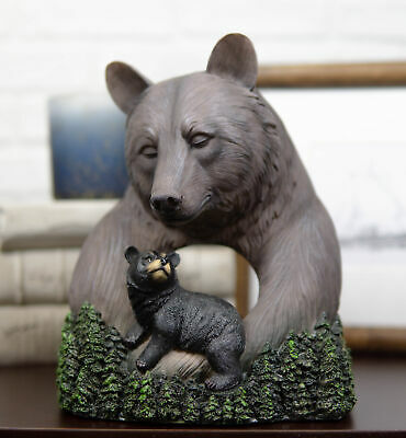 Rustic Forest Black Mama Bear Embracing Cub By Pine Trees Faux Wood Figurine 35 99 Picclick