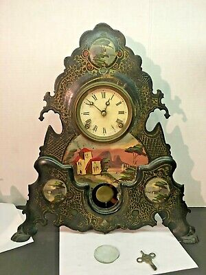 """VICTORIAN 1850's MANTEL CLOCK WITH PAINTED CAST IRON FACE  19 3/4"""" T X 18""""W"""