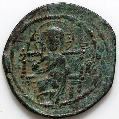 Byzantine coin Constantine IX, AE Class D anonymous follis. 1042-1055 AD. IC to