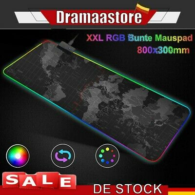 800 x 300mm Gaming Pad Mauspad RGB Anti-Rutsch Mousepad Pad PC Unterlage XXL NEU