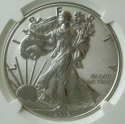 2019 W Enhanced Reverse Proof $1 American Silver Eagle Dollar NGC PF70