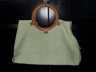 FOSSIL Green Canvas Handbag Purse With Brown Faux Leather Ring Handles & Details