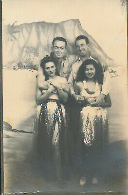 1940s WWII TWO cute Hula Girls & Smokey Jones & buddy Hawaii Photo arcade Photo