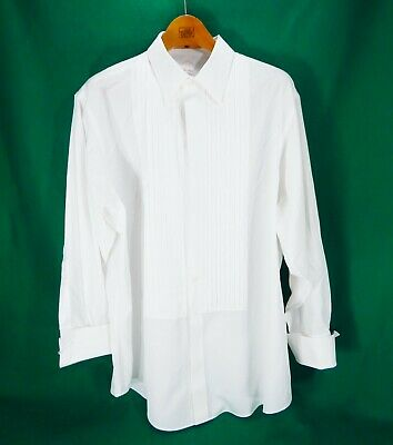 Brooks Brothers Golden Fleece 18-34 Tuxedo French Cuff Button Up White Shirt